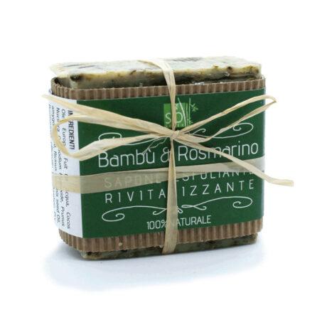 Sapone esfoliante alle foglie di bambù biologico e rosmarino profumato agli estratti di rosmarino.