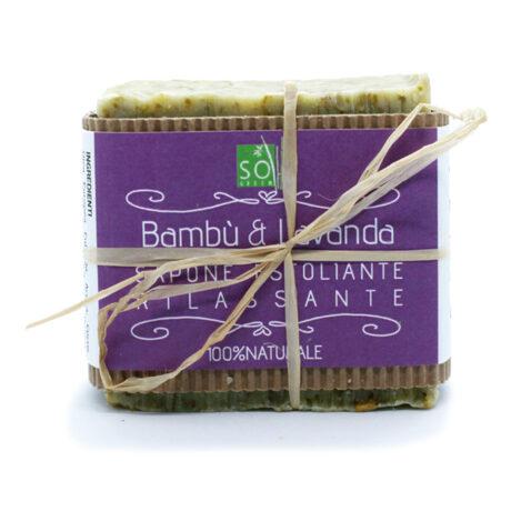 Sapone esfoliante alle foglie di bambù biologico e profumato agli estratti di lavanda.